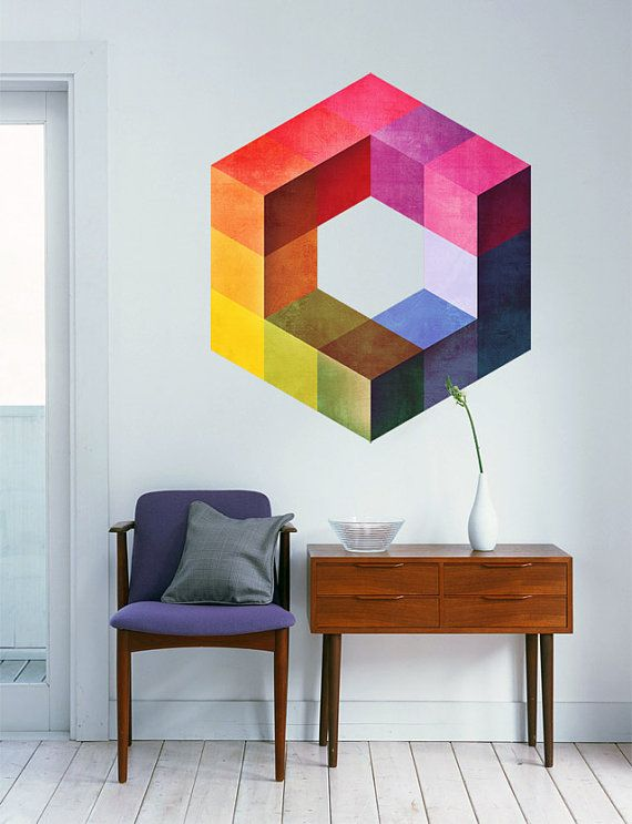 Geometric Mid Century Modern Color Form Wall Art by DecalSticker