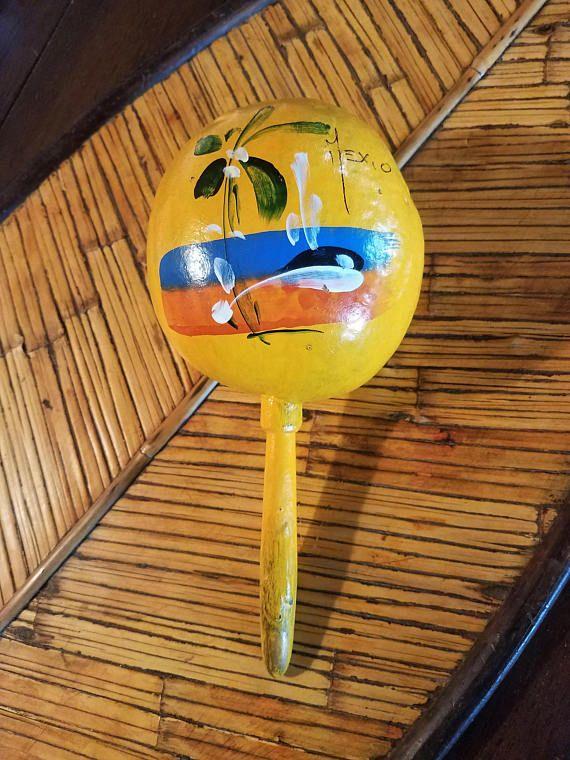 Vintage Yellow Souvenir Hand Painted Gourd Maraca Mexico Noise Maker