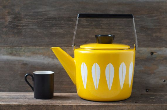 Mint Rare Cathrineholm Enamelware Yellow Lotus Design Teapot - Mid Century on Etsy, $432.71 AUD