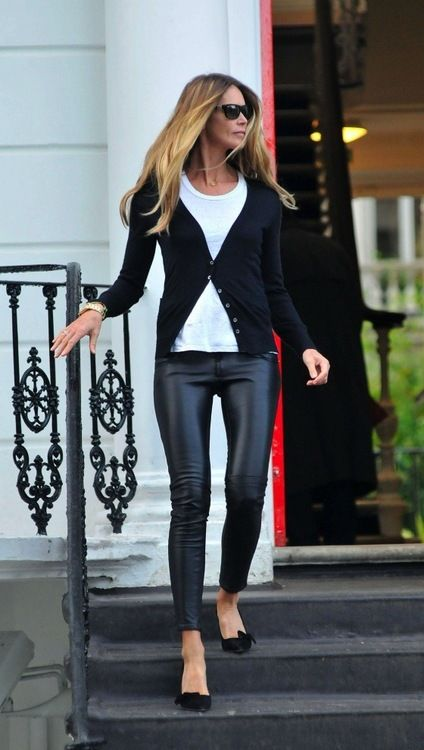 every thing she wears...Fashion, Black Cardigans, The Body, Street Style, Black White, Black Leather Pants, Leather Legs, Elle Macpherson, Leatherpants