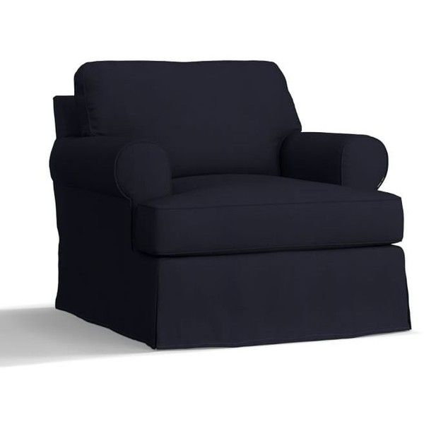 pottery barn townsend roll arm armchair slipcover 619 liked on polyvore featuring home furniture chairs accent chairs navy navy blue chair