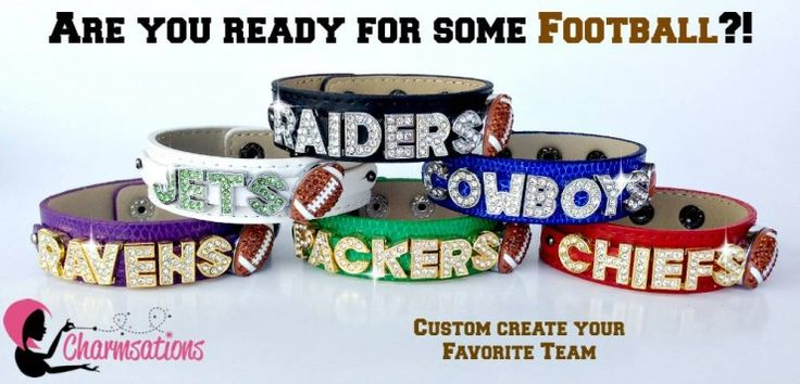 Its all about showing your team spirit with your very own sparkly NFL team bracelet! #blingerofcharms #football #teamspirit #nfl #sports #packers #vikings #cardinals #steelers #jets #broncos #seahawks #chiefs #cowboys #charmsations #sparkle #createyoursparkle #directsales #personalized #jewelry #gifts #giftideas