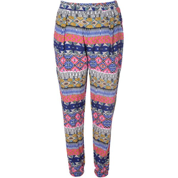 Blue Bright Aztec Print Trousers ($31) ❤ liked on Polyvore featuring pants, multi, blue trousers, aztec-print pants, elastic waist pants, elastic waistband pants and aztec pants