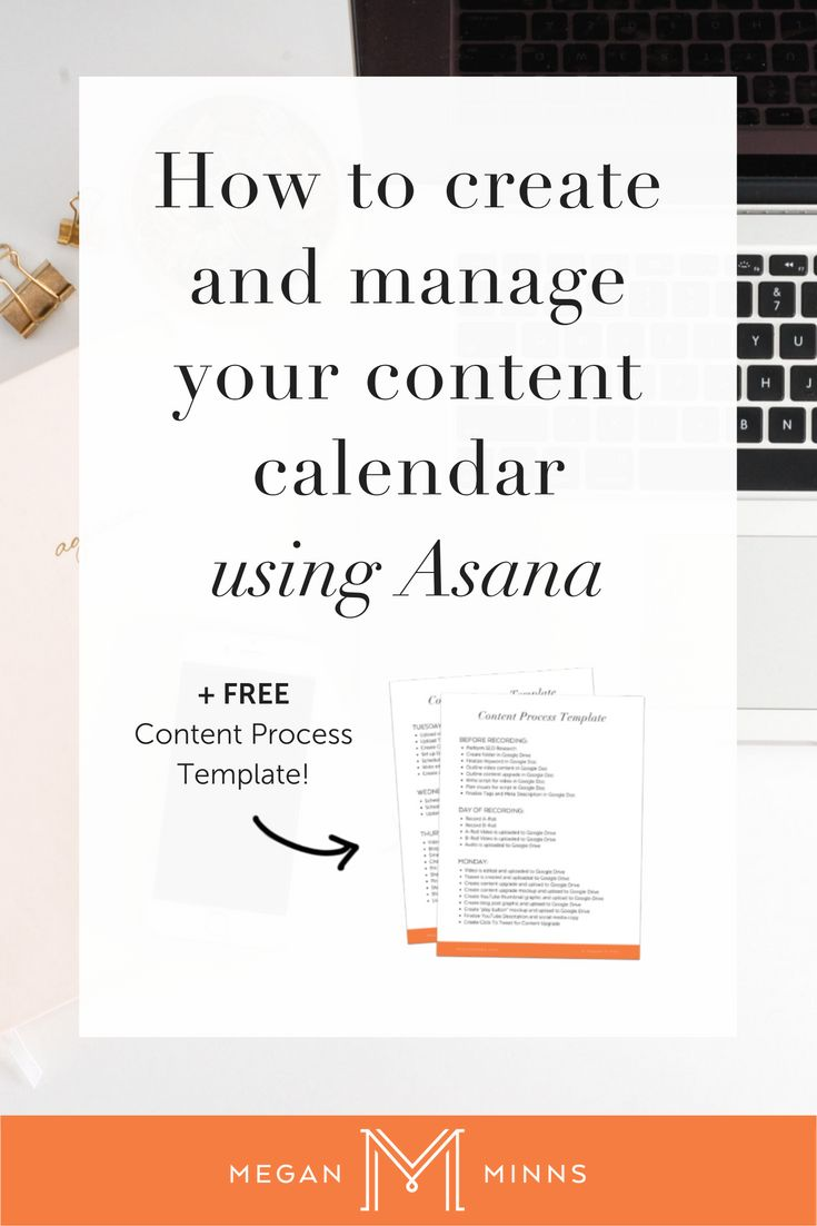Today I'm going to show you how to create and manage your content calendar  using a project management system called Asana.  By following these simple steps you'll have a content calendar that makes  it so easy for you to create content consistently for your business!  Step #1: Create a project in Asana for your content calendar.  The first step is to create a new project in Asana for your content  calendar. You could just name it content calendar, or if you want to get  more specific...