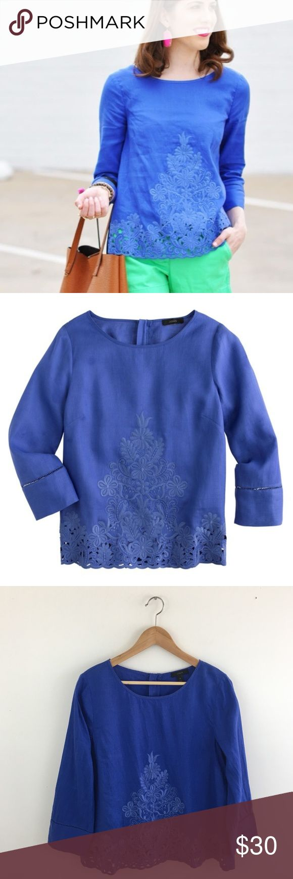 """J. Crew Embroidered Linen Top in Blue Size 12 J. Crew Embroidered Linen Top in Blue. Size 12. Excellent Used Condition. No visible flaws. GORGEOUS top!! Love the embroidery detail and gold back zipper! Pullover style with scoop neck. 100% Linen. Machine wash cold. Tumble dry low. Chest: 19"""". Shoulder: 16"""". Length: 24"""". J. Crew Tops Blouses"""