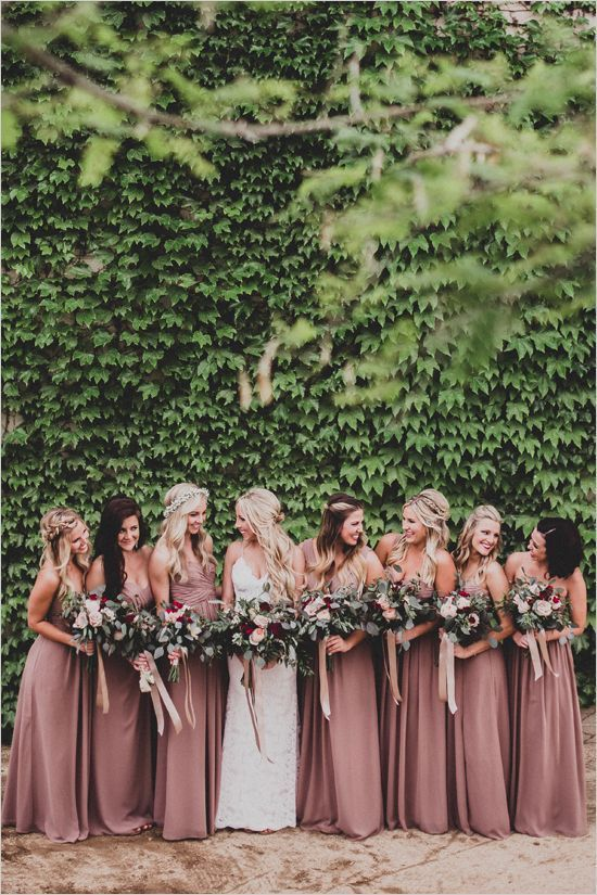Bridesmaids Dresses   Dessy: Pleated detail at front of empire waist skirt in cappuccino.