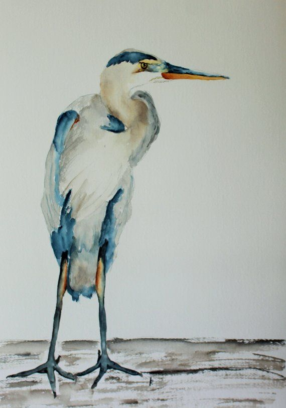 Blue Heron Beach Bird Painting Original Watercolor By Betty Moore