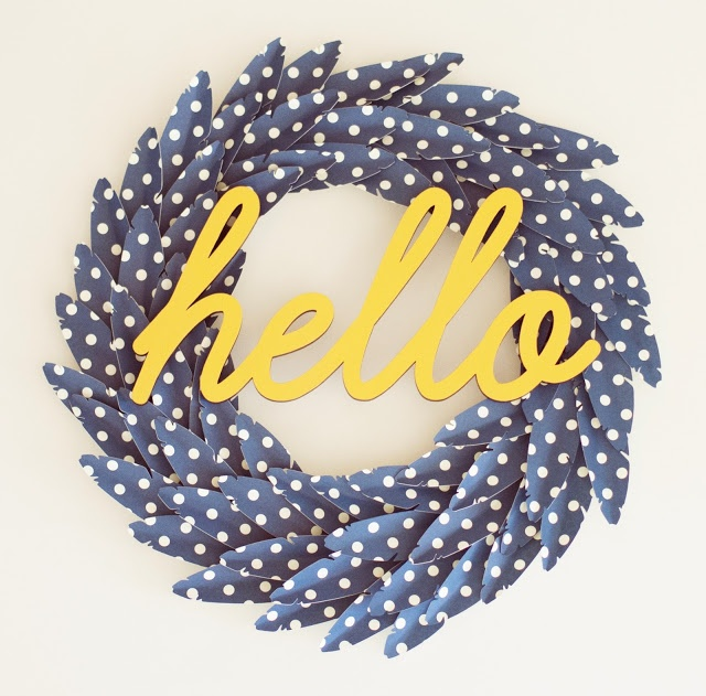 Am in LOVE with this hello + feather wreath [via very truly me blog]