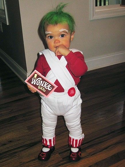 HILARIOUS. @Katie Rannou, can we PLEASE dress your child up like this next year for halloween? it can be a group costume: frank can be willy wonka, and you and i can veruca salt and violet beauregard.
