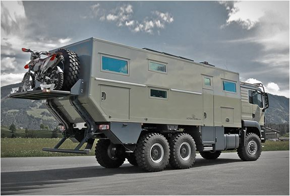Action Mobil are specialists in building expedition vehicles, their highlight is the spectacular Globecruiser, a 4x4 top-class world touring vehicle, and the recently released Global XRS 7200, an extreme all-terrain expedition vehicle powered by a mind blowing 720-hp engine cranking its six wheels