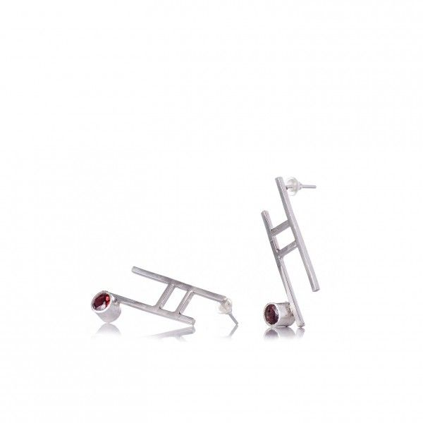 Contemporary silver & garnet earrings. Inspired from the Torii gates