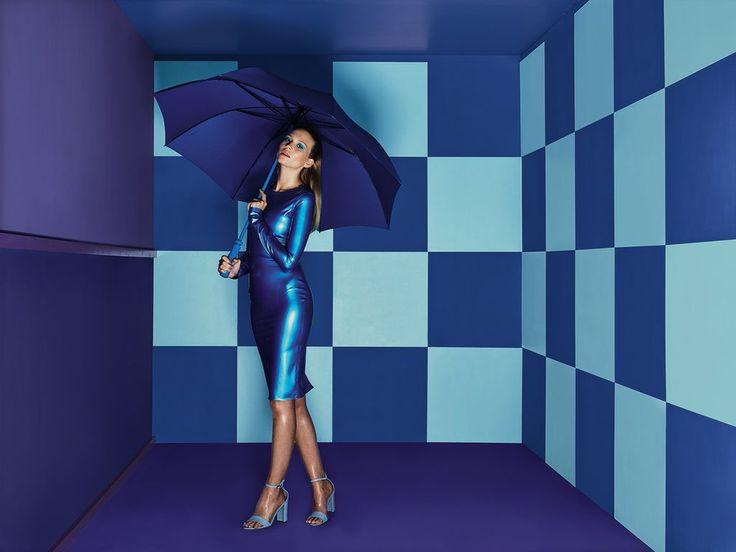 The Kim West metallic blue 'Katy' dress used in Dulux paint advert.