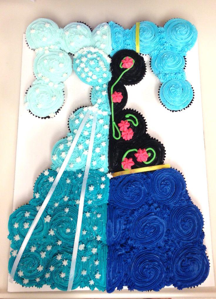 Anna and Elsa Dress Cupcake Cake
