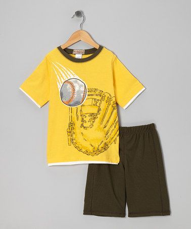Take a look at this Yellow Baseball Tee & Olive Shorts - Boys by Kids Headquarters on #zulily today!