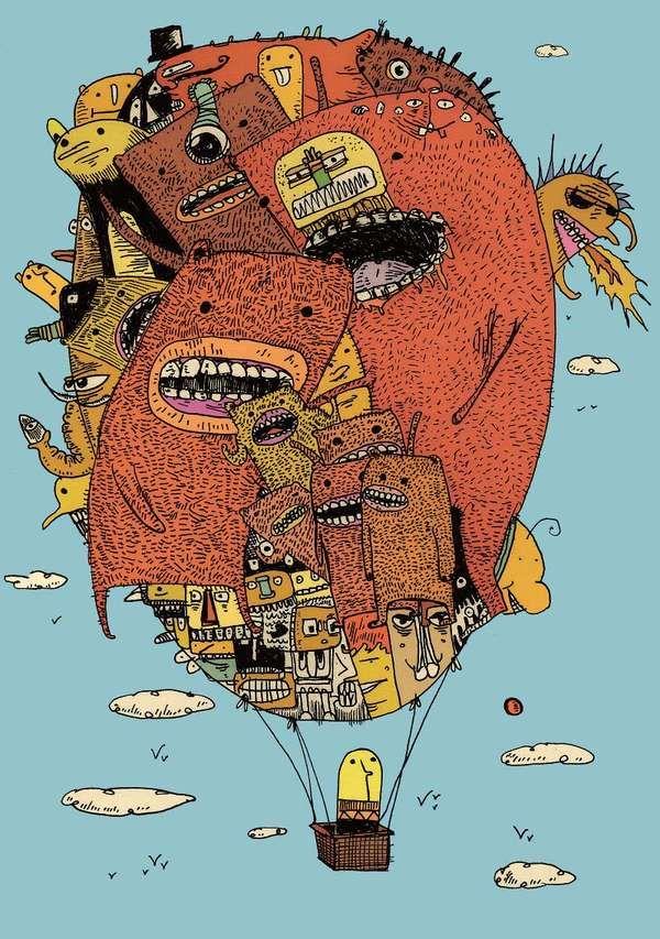 Creepy Comic Illustrations  Murray Somerville Renders Surreal Fantasy Drawings
