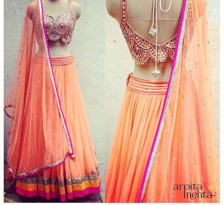Arpita Mehta # lehenga # peach love # Indian fashion