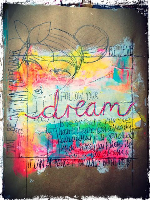 12 - Take inspiration from this art journal piece and concentrate most of the color of a layout right in the center of your page. - 2pts.