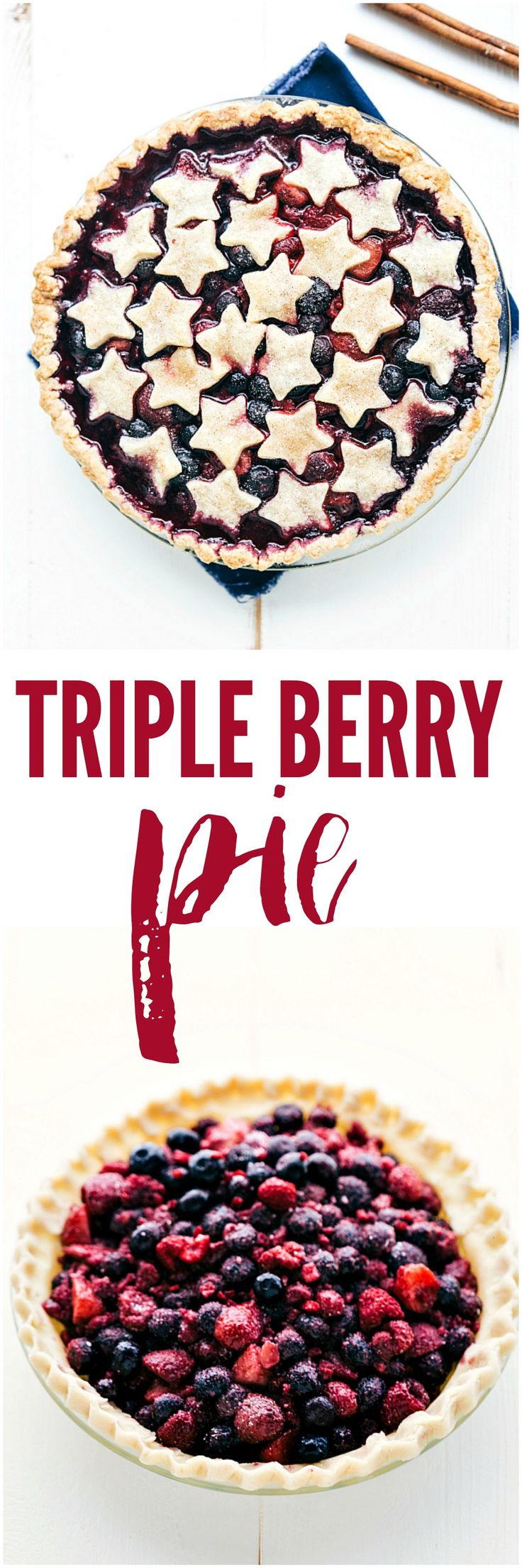 Triple Berry Pie - A patriotic fourth-of-July triple berry pie made simple with easy ingredients!