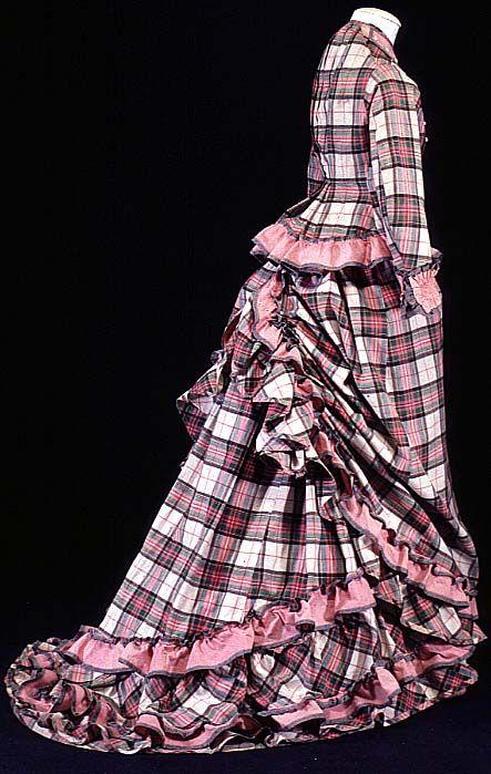 1875 plaid day dress