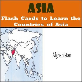 Asia Country Flash Cards - Learn the Countries of Asia!