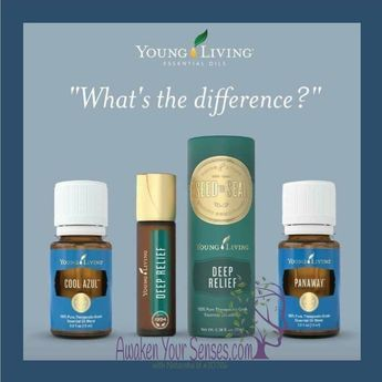 I love Young Living Essential Oils, here is some great info about these 3 oils & how they work, I use them often & rotate them often too!! http://www.awakenyoursenses.com/oily-tips/hummmm PanAway, Deep Relief, and Cool Azul, which oil should you use and when? First off, there is no exact answer for everyone, each person has a different chemical make-up and each oil reacts differently on every person. Click to see a side by side comparison of these three oils so you can learn the difference