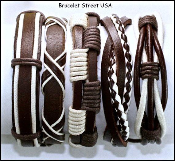 Conjunto de 5 pulseras de cuero hechas a mano para camallero. - 5 Set mens handmade leather bracelet