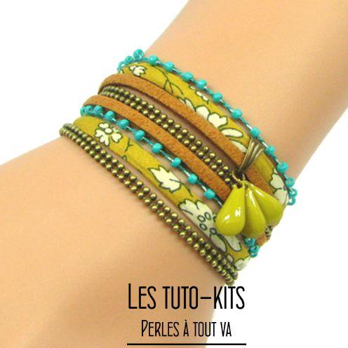 Kit bracelet de cordons liberty et suédine moutarde