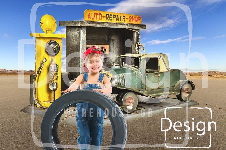 Vintage Auto Repair Shop Photography Digital Prop  Outback Desert Mechanic Digital Background Boy Toddler Photography Car repair Backdrop by DesignWarehouseGB on Etsy