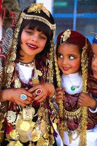 Tunisian Girls In Traditional Dress Tribal Accessories