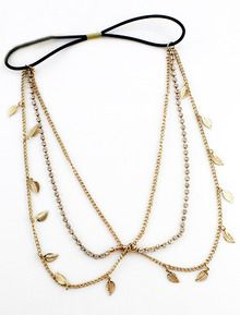 Gold Crystal Leaves Chain Hair Accessories US$7.34