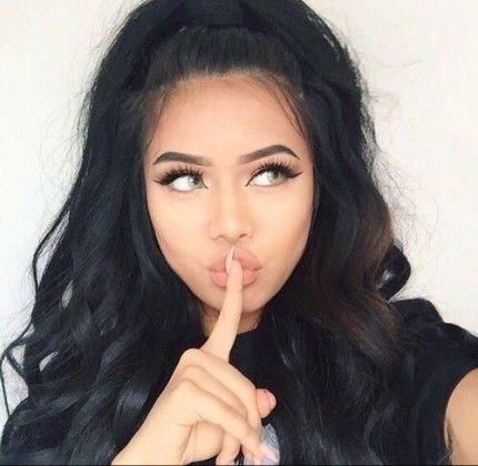 long black hair / #top #bun #makeup