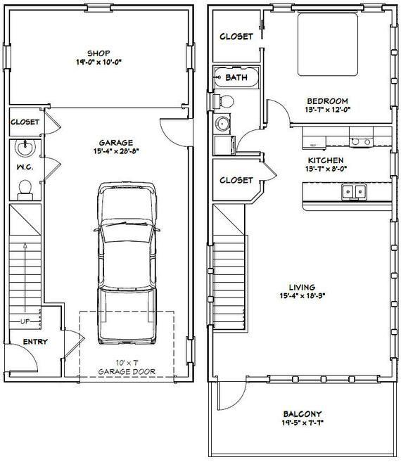 20x40 House 1 Bedroom 1 5 Bath 1053 Sq Ft Pdf Floor Etsy In 2020 House Plans Garage Plans Small House Plans