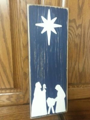Manger scene wood sign by Iowanative