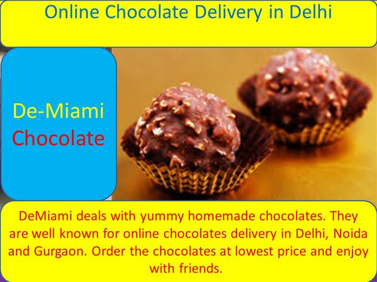 DeMiami are well known for online chocolates delivery in Delhi, Noida and Gurgaon. Order the chocolates at lowest price and enjoy with friends. We will provide our best services to you. A chocolate can bring up smile on the faces and sweetness in their minds.  You can just go online and visit the site, and order it.