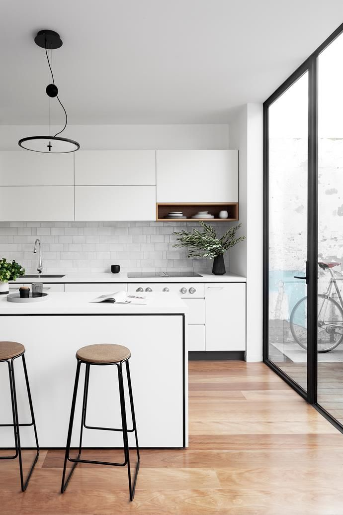 Shadow Lines Frame The Cabinetry And Island Highlighting Design Mirroring Steel Framed Door Windows If Black White Feels Too Clinical