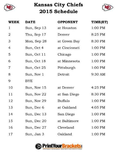 Printable Kansas City Chiefs Schedule - 2015 Football Season
