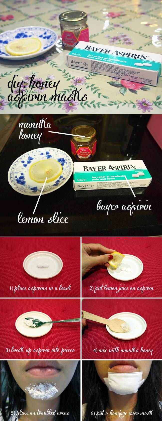 Acne mask with aspirin and honey