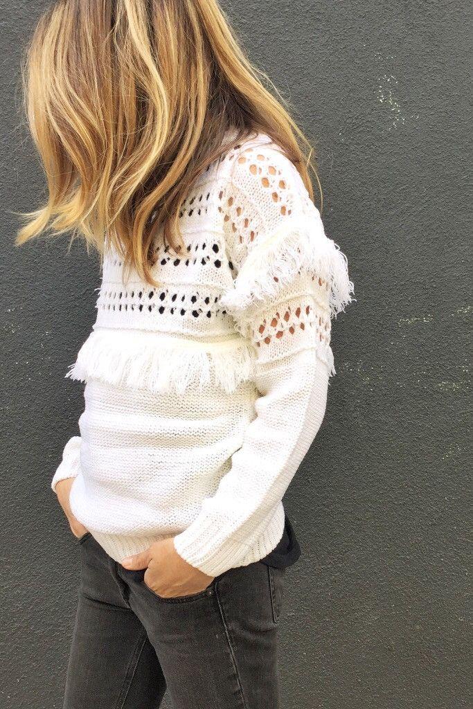 Ivory fringe sweater