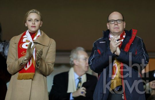 10 FEBRUARY 2014 Yesterday: Prince Albert, Princess Charlene, Pierre Casiraghi and Gad Elmaleh attended the French L1 soccer match between Monaco and Paris in Monaco.