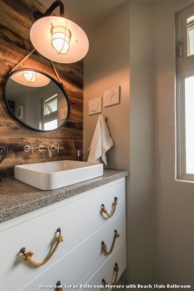 Images of Large Bathroom Mirrors with Beach Style Bathroom With