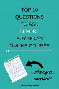 Find out what questions you need to ask BEFORE you buy that online course in this article! Plus get a free worksheet to help you keep track of your answers (you can reuse it again and again every time you're thinking about buying an online program for your business!)