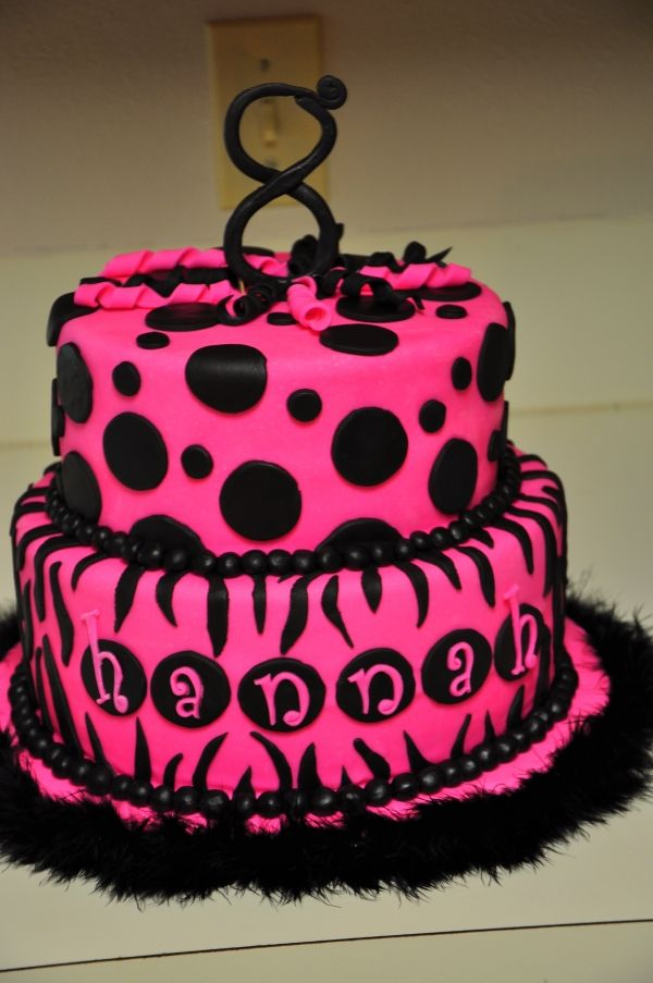 Hot Pink and Black Zebra Birthday Cake
