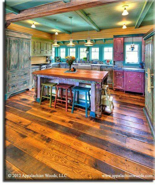 ☮ American Hippie Bohéme Boho Lifestyle ☮ Beautiful colored kitchen