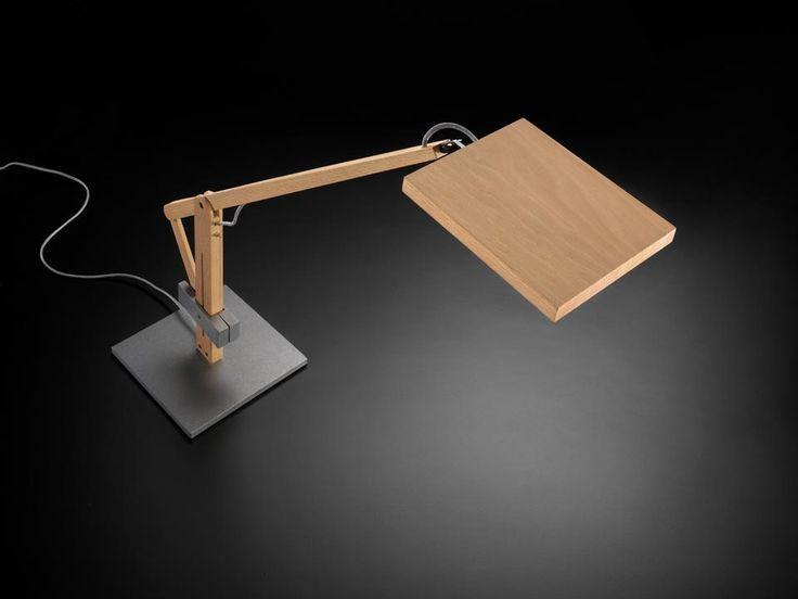 Lampe de bureau bois naturel et acier brut Leva - Réf. 13080037