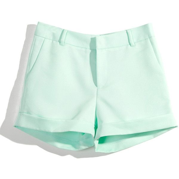 Mint Shorts with Turn Ups by Chic+ ❤ liked on Polyvore