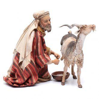 Pastore che munge la capra 30 cm presepe Angela Tripi | vendita online su HOLYART