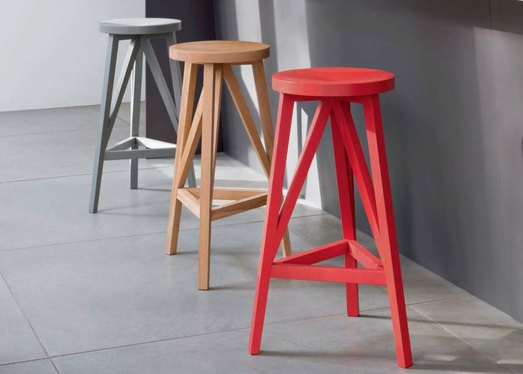 HIGH WOODEN STOOL WITH FOOTREST JL4 FABER COLLECTION BY LOEHR | DESIGN JULIAN LÖHR
