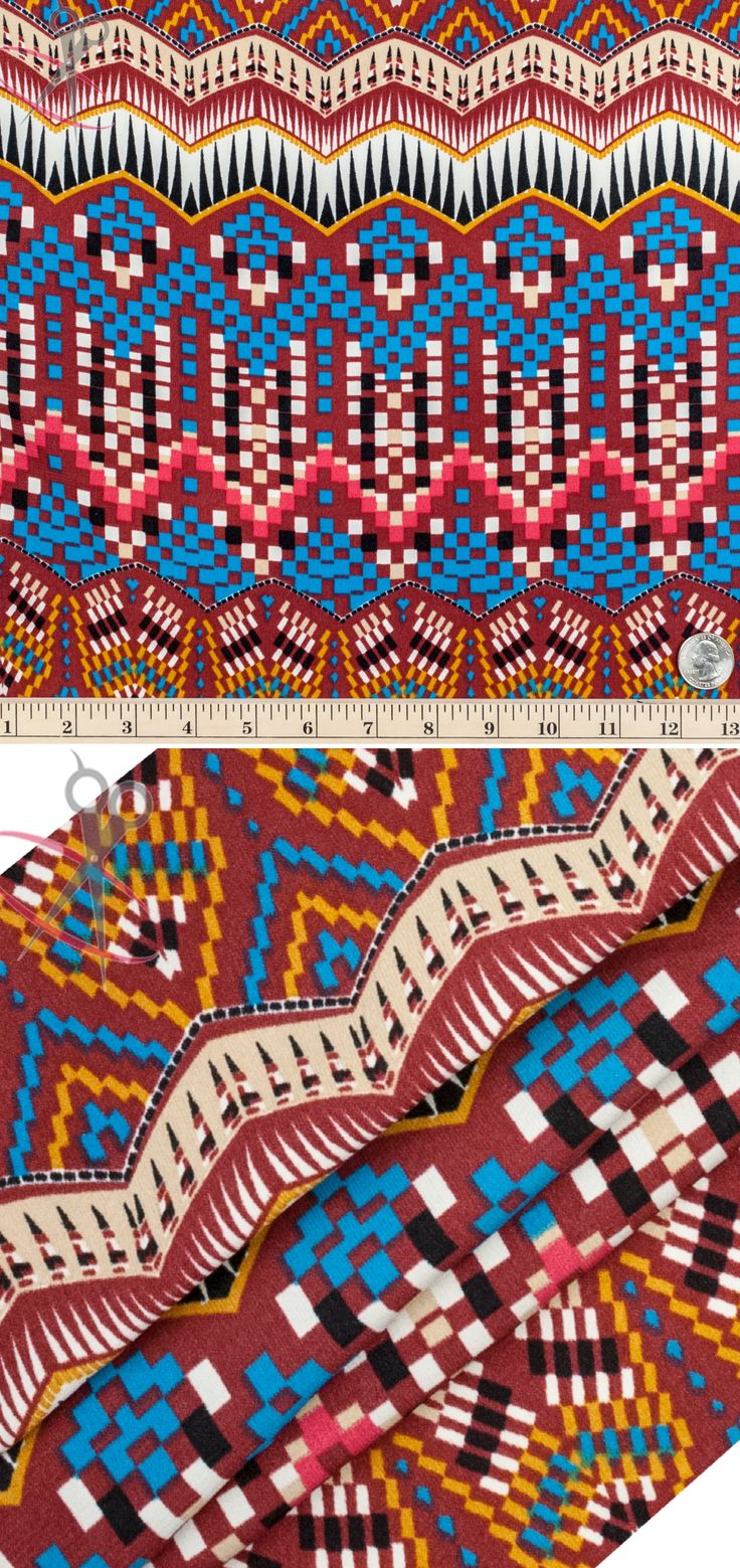 A huge range of colors come together to create our Digital Geometric Aztec Design in burgundy. In this print, off white, black, mustard, sky blue, fuchsia, burgundy, black and ivory are all utilized.