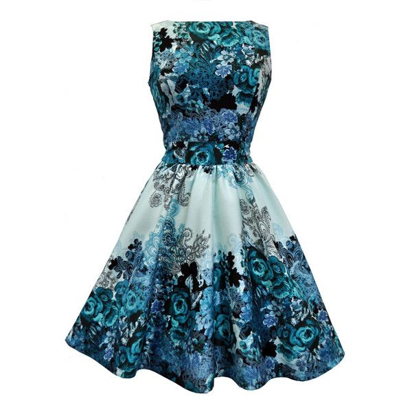 Teal Rose Floral Collage on Cream Tea Dress ($75) ❤ liked on Polyvore featuring dresses, vestidos, flared skirt, blue skater skirt, circle skirt, vintage day dress ve floral skater skirt
