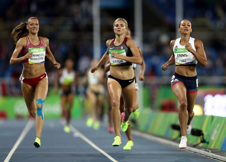 Jessica Ennis-Hill of Great Britain and Brianne Theisen Eaton of Canada compete in the Women's Heptathlon 800m on Day 8 of the Rio 2016 Olympic Games at the Olympic Stadium on August 13, 2016 in Rio de Janeiro, Brazil. (Source: Paul Gilham/Getty Images South America)